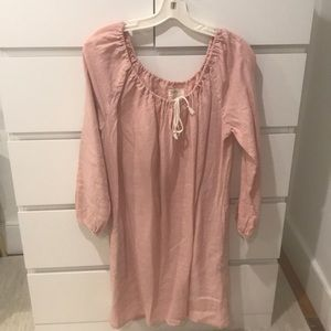 Boy + Girl Blush Pink Long Sleeve Linen Tunic